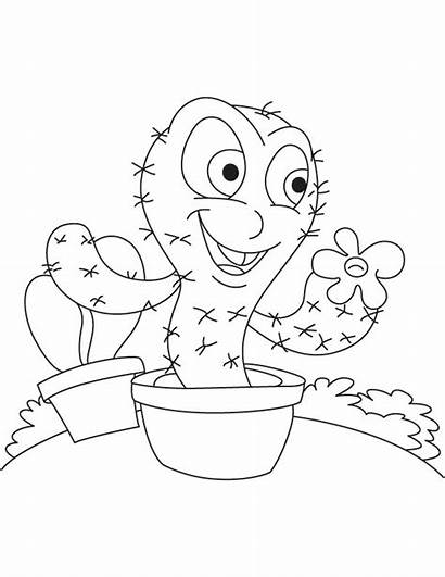 Coloring Cactus Pages Outdoor Outside Saguaro Clipart