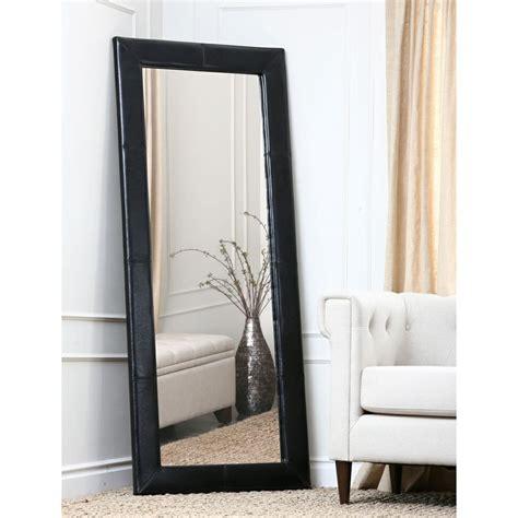 floor mirror overstock abbyson living delano black leather floor mirror