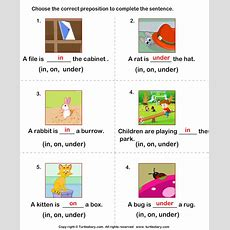 Prepositions In On Under Worksheet  Turtle Diary
