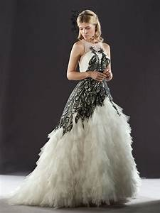 looking glamour with black and white wedding gowns With black white wedding dresses