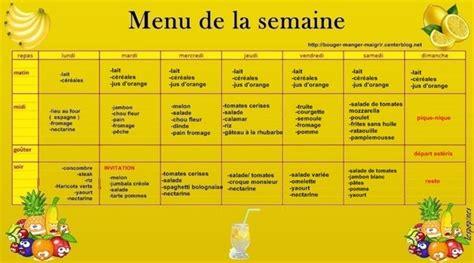 menu semaine cuisine az repas type équilibré cuisinez pour maigrir