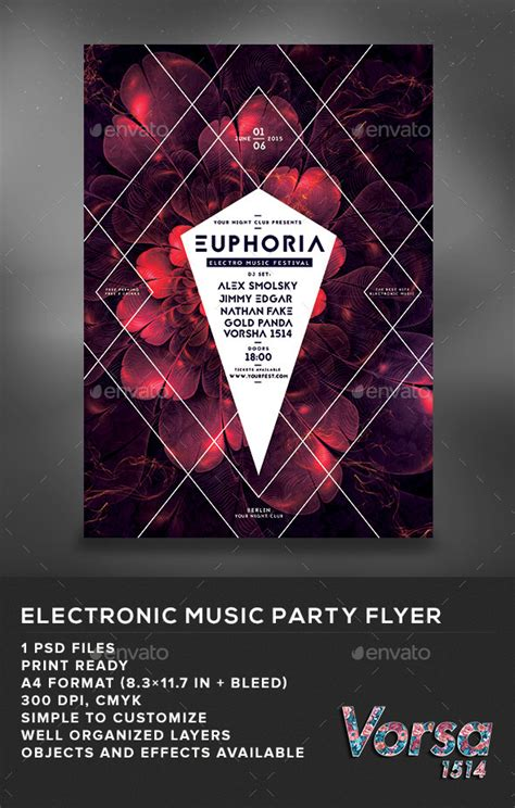 Download Graphicriver Electro Dj Party Flyer Template 6502526 by Print Template Graphicriver Electronic Music Party Flyer