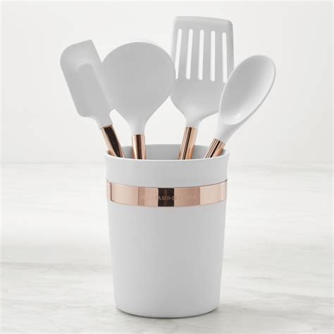 copper cooking utensil set williams sonoma silicone 5 tools with copper handles