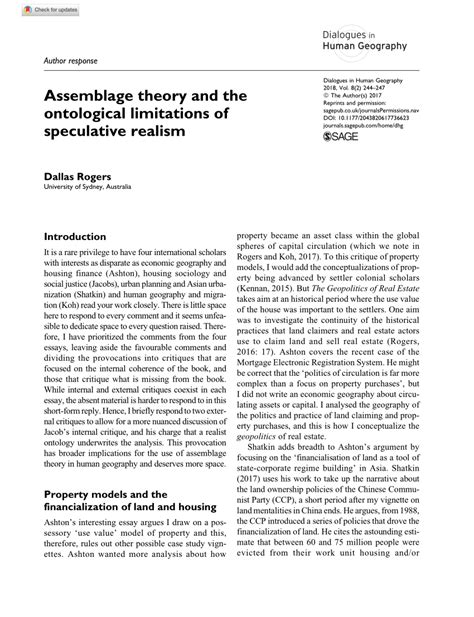 assemblage theory   ontological limitations