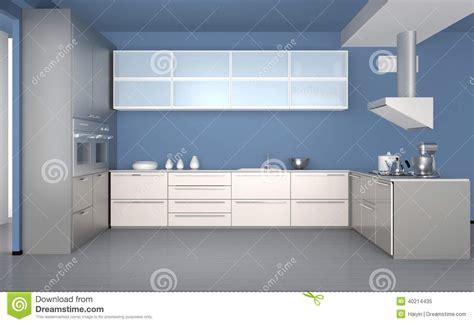 cuisine bleu clair intérieur moderne de cuisine avec le papier peint bleu clair photo stock image 40214435