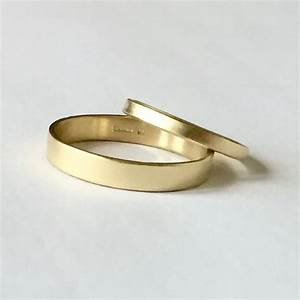 Wedding band set two plain gold rings his and hers 9 for Plain gold band wedding ring