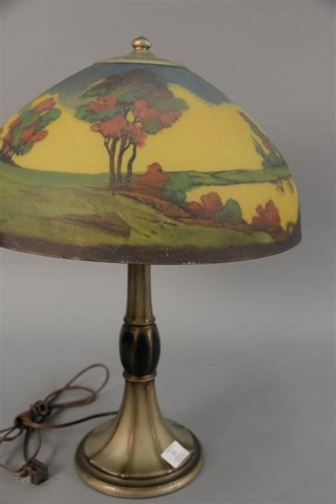 hand painted l shades jefferson table l with reverse hand painted glass shade