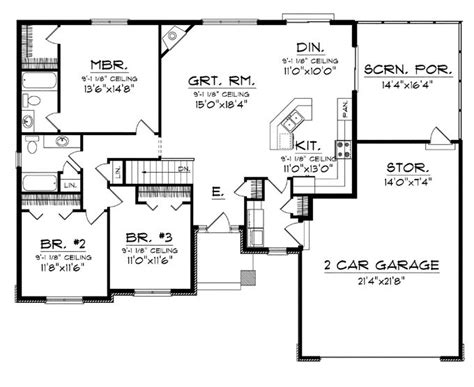 1 Story Open Floor Plans by Floor Plans Aflfpw76173 1 Story Craftsman Home With 3