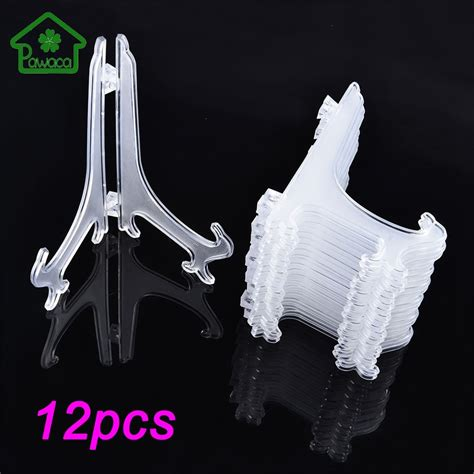 pcsset clear plastic easels plate holders display dish rack picture frame photo book pedestal