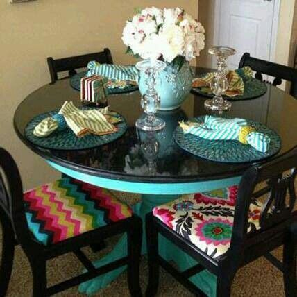 Turquoise and black dining table by Bon Mallette   Bon