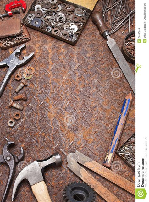 industrial workbench tools background stock photo image