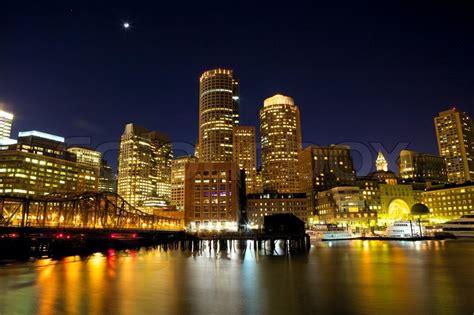 Nighttime View Of Boston Harbor Massachusetts Usa