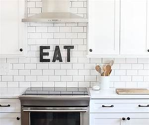 white subway tile with dark grout design decor photos With kitchen colors with white cabinets with paper mache wall art