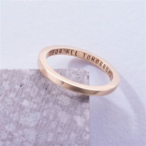 personalised 9ct gold flat wedding ring by posh totty