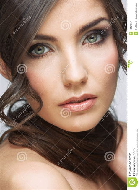 Beauty Woman Face Close Up Portrait Light Make Up Stock