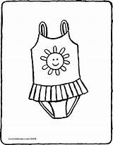 Swimsuit Colouring Drawing Clothes Kiddicolour sketch template