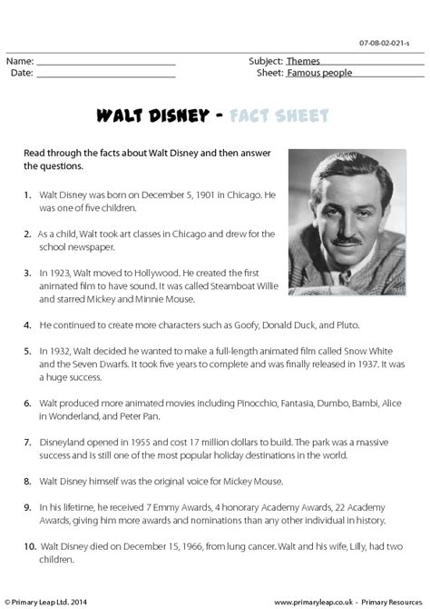 walt disney reading comprehension