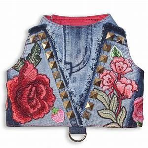 Studs And Roses Designer Denim Fashion Dog Harness Vest
