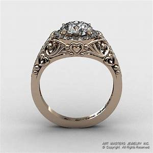 italian 14k rose gold 10 ct cubic zirconia diamond With wedding rings italian design