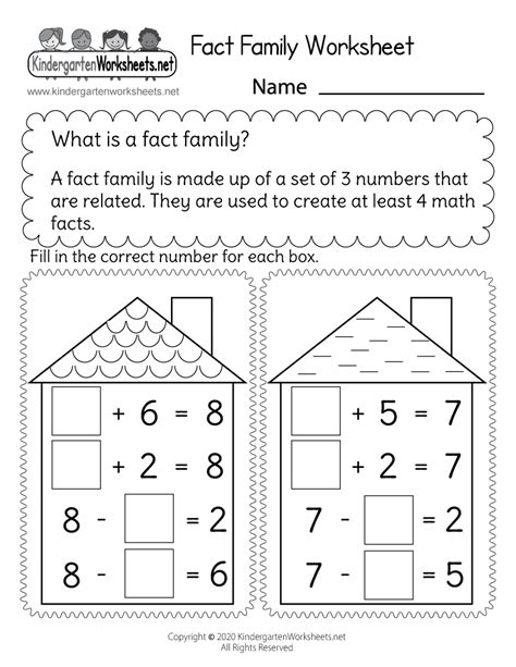 addition family worksheet  kindergarten math