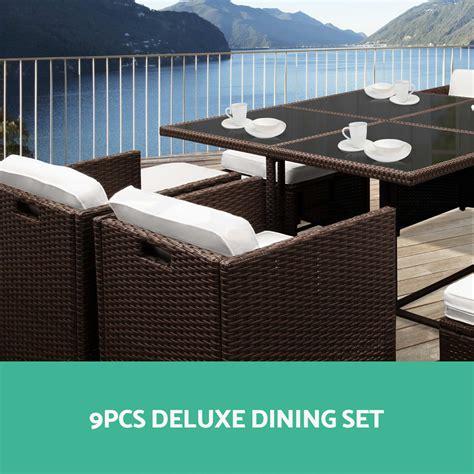5 9 11pcs black brown outdoor furniture dining set pe