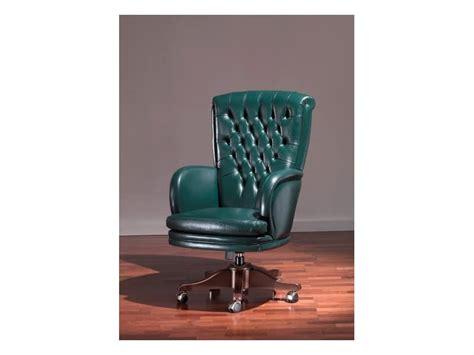 Poltrona Stile Antico, In Pelle Verde, Per Ufficio
