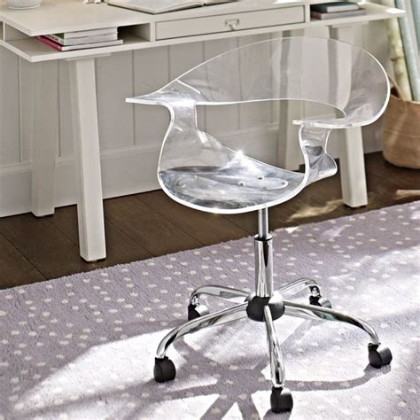 clear plastic desk chair acrylic swivel chair office chairs other metro by pbteen
