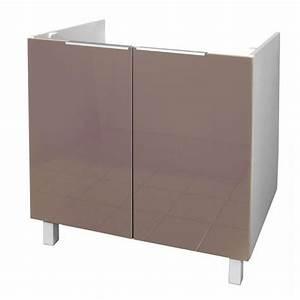 Meuble Sous Evier 90 Cm : pop meuble sous vier 80 cm taupe haute brillance ~ Dailycaller-alerts.com Idées de Décoration