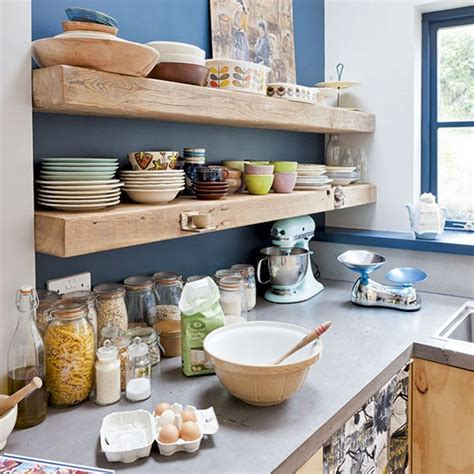kitchen shelf ideas timber shelves on bold painted wall kitchen shelving