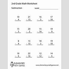 Second Grade Subtraction Worksheet