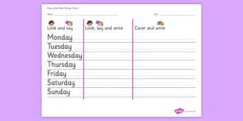 days of the week writing practice worksheet