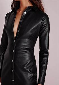 lyst missguided faux leather fitted midi shirt dress With robe en simili cuir