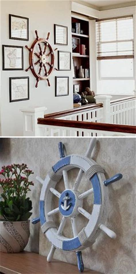 nautical decor ideas enhanced  vintage ship wheels