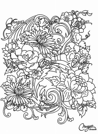 Coloring Pages Adults Flower Drawing Adult Flowers