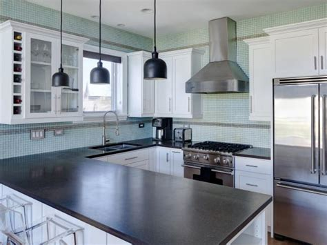 blue cabinets white countertops contemporary kitchen with aqua blue tile backsplash and 328 | 1400971731273