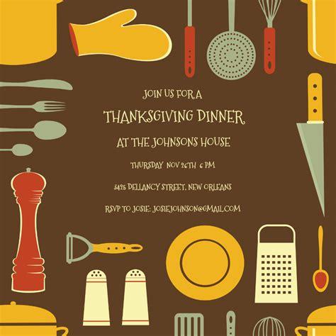 cooks tools border thanksgiving invitation template