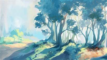 Fantasy Forest Artwork Watercolor Painting Illustration Paint