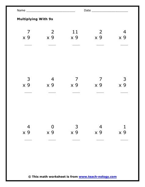multiplication by nines worksheet