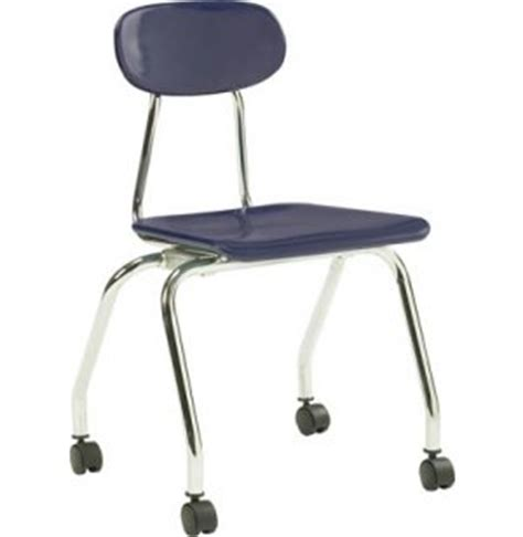 plastic stackable school chair with casters 17 75 quot h