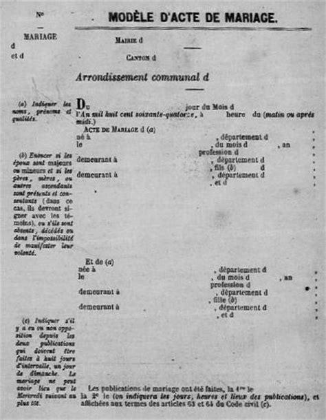 exemple acte de mariage la tenue des registres de l 233 tat civil au 19e si 232 cle