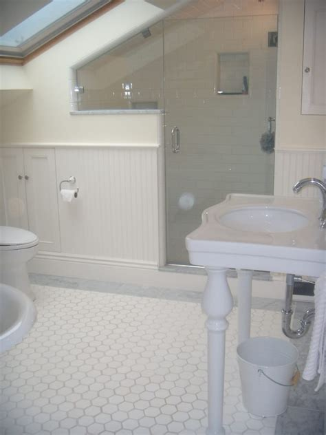 bathroom remodel in an attic remodel with frameless