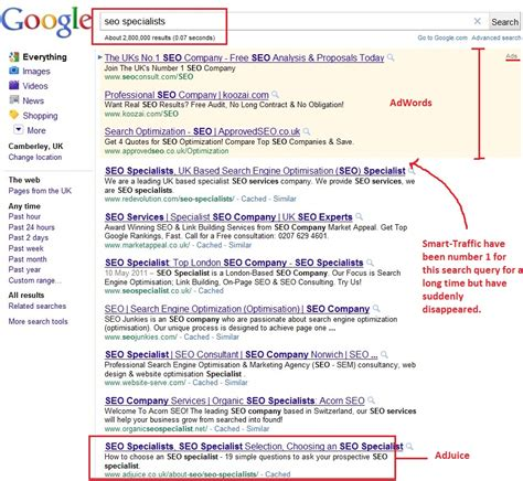 Seo Search Results - smart traffic co uk a mysterious disappearing act