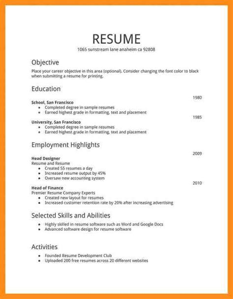 basics of a resume 28 images basic resume exle 8 sles