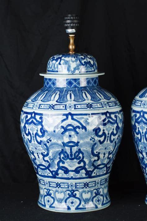 pair chinese blue  white porcelain urn lamps ginger jar