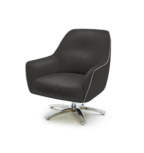 black and grey leather swivel base lounge chair