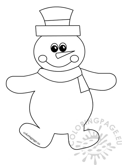 happy snowman winter drawing coloring page