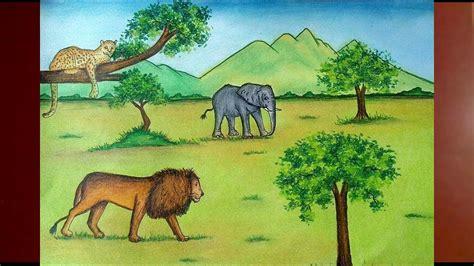 draw  jungle scenery  animals step  step