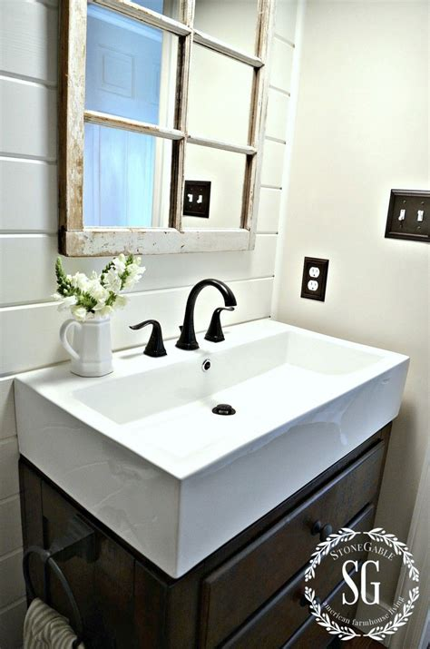 Farm Style Bathroom Sink by Farmhouse Powder Room Reveal Remodeling And Decorating