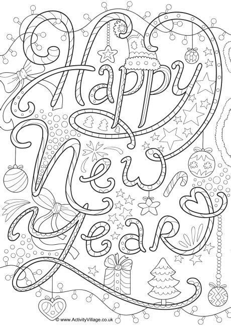 Kleurplaat Happy New Year by Happy New Year Doodle Colouring Page Dibujos New Year