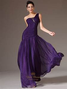 Purple A Line One Shoulder Chiffon Prom Dress With Beaded ...